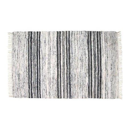 HK-living Carpet recycled silk black 120x180cm white