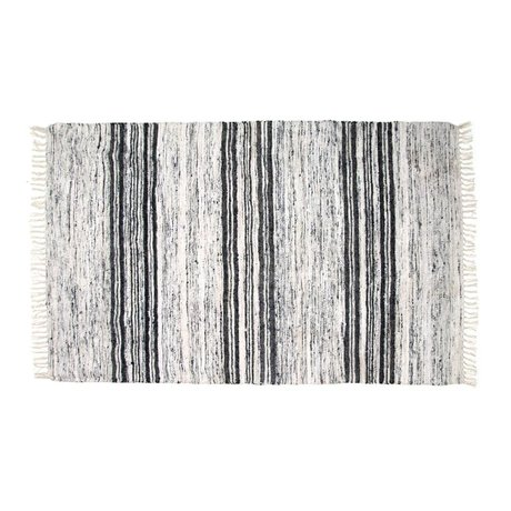 HK-living Tapis de soie recyclé 120x180cm noir blanc