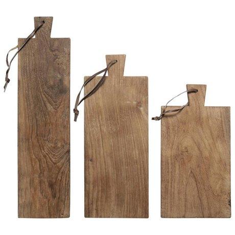 HK-living planches à pain recyclés ensemble de 3 plaques en teck