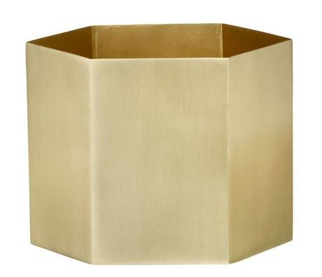 Ferm Living Pote hexagonal de latón oro Ø18x16cm- extralarge