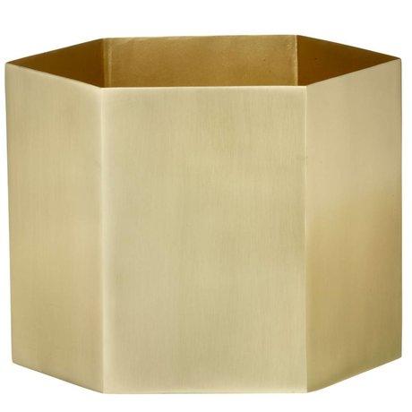 Ferm Living Pot Hexagon Messing Gold Ø18x16cm- extralarge