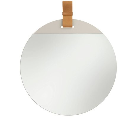 Ferm Living Entrez miroir avec bracelet en cuir grande 45x52cm