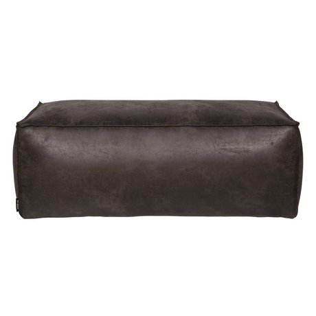 BePureHome Pouf Rodeo pelle nera 120x60x43cm