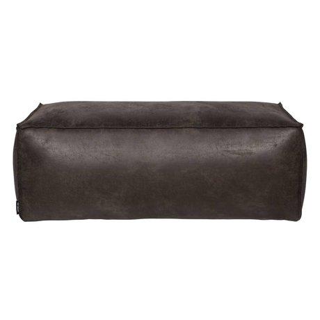 BePureHome Pouf Rodeo schwarz Leder 120x60x43cm