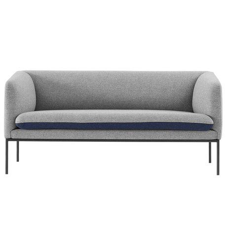 Ferm Living Sofá de la curva 2 plazas de algodón gris azul 160x71x73cm