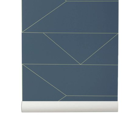 Ferm Living 10x0,53m azul oscuro papel pintado Líneas