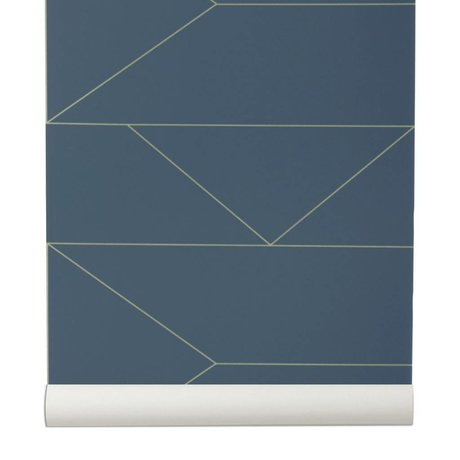 Ferm Living Wallpaper Lines dark blue 10x0,53m