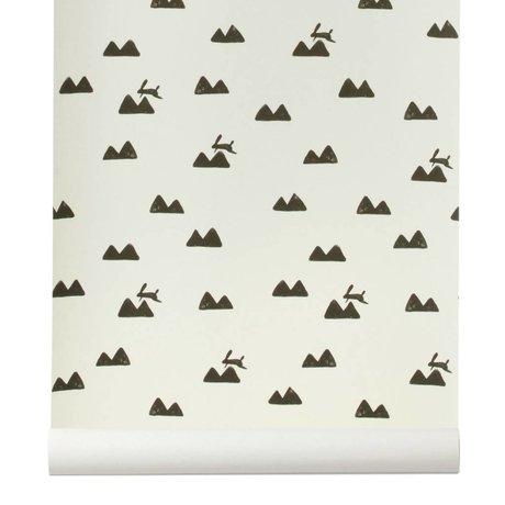 Ferm Living Wallpaper Rabbit broken white and black 10x0,53m