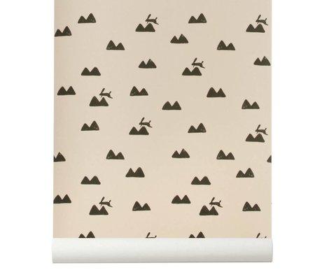 Ferm Living Wallpaper Coniglio roza 10x0,53m nero