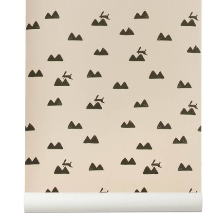 Ferm Living Wallpaper Kanin roza sort 10x0,53m