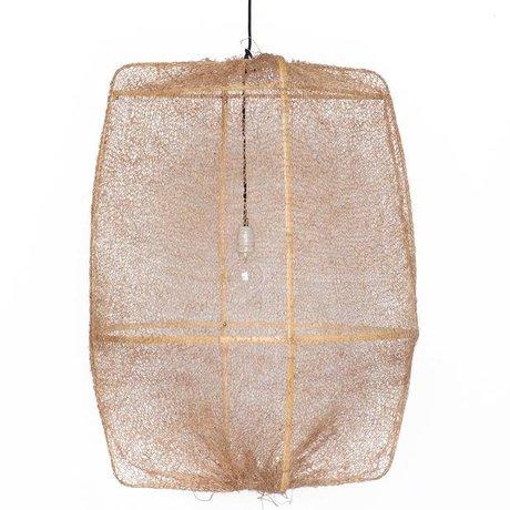 Ay Illuminate Hängelampe Z2 Ona Bambus mit braunen Bezug aus Sisal ø77x105cm