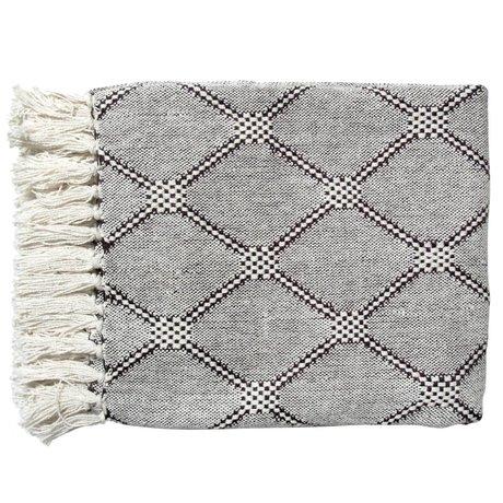 HK-living Living Blanket diamant plaid sort og hvid 125x50cm