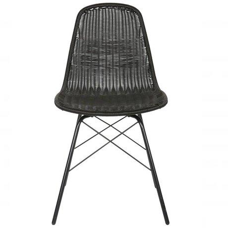 BePureHome Stuhl Spun schwarz Polyester Metall 84,5x52,5x45,5cm Satz von 2