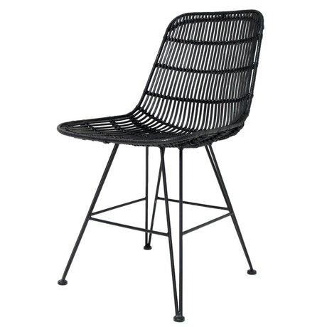 HK-living Silla de comedor de metal / ratán, negro, 80x44x57cm