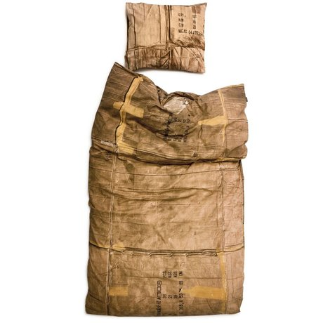 Snurk Linen karton, brun / creme, som fås i 3 størrelser