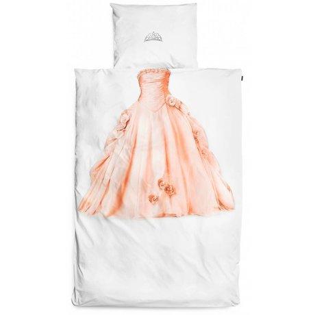 Snurk Princesa ropa de cama, blanco / rosa, 140x220cm
