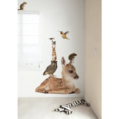 Kek Amsterdam Wall Decal XL deer Set Forest Friends, multicolour, 108x91cm