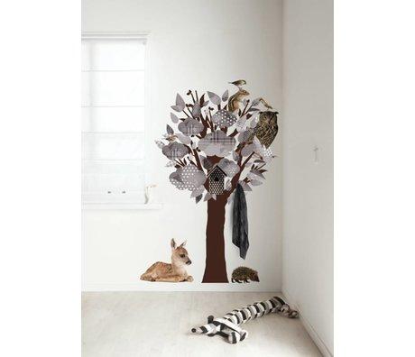 Kek Amsterdam Stickers muraux / penderie Forêt Tree Friends, gris, 95x150cm