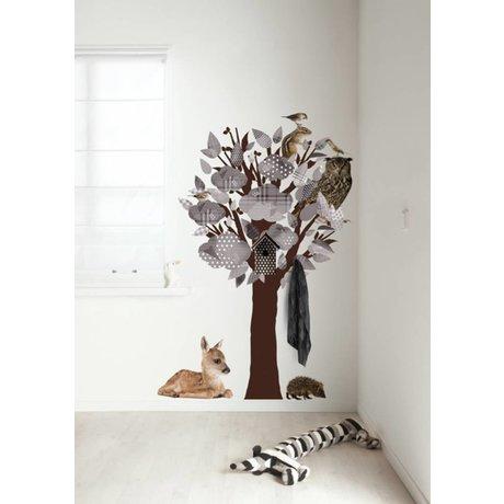 Kek Amsterdam Tatuajes de pared / armario Bosque Amigos Árbol, gris, 95x150cm