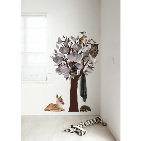 Kek Amsterdam Wall Decal / wardrobe Forest Friends Tree, gray, 95x150cm