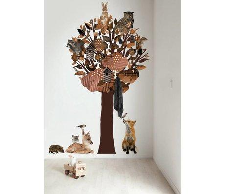 Kek Amsterdam Tatuajes de pared / armario Bosque Amigos Árbol XL, marrón, 120x220cm
