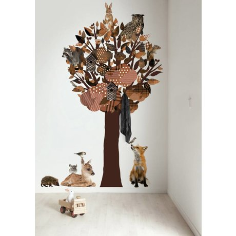 Kek Amsterdam Stickers muraux / penderie Forêt Amis Arbre XL, brun, 120x220cm