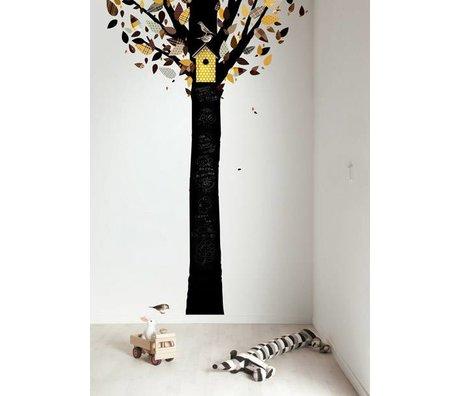 Kek Amsterdam Lavagna albero foglio, nero / giallo, 185x260cm