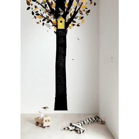 Kek Amsterdam Tableau feuille d'arbre, noir / jaune, 185x260cm
