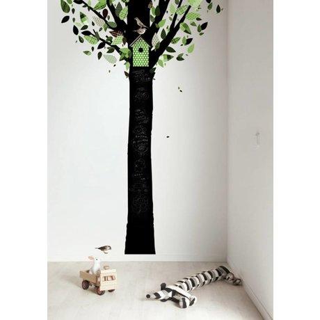 Kek Amsterdam Kreidetafelfolie Baum, schwarz/grün, 185x260cm