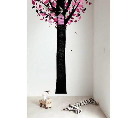 Kek Amsterdam Tableau feuille arbre, noir / rose, 185x260cm
