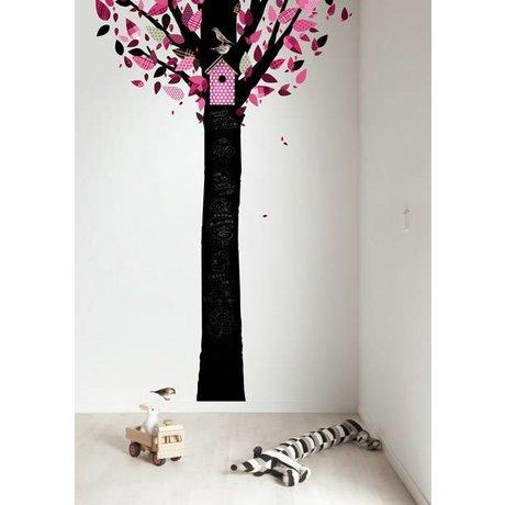Kek Amsterdam Kreidetafelfolie Baum, schwarz/rosa, 185x260cm