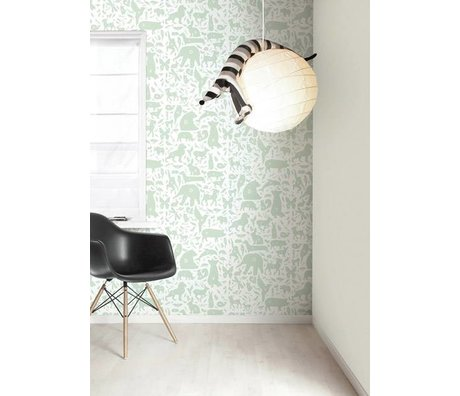 Kek Amsterdam Alfabeto animali parati, verde / bianco, 8.3 MX47, 5cm, 4m ²