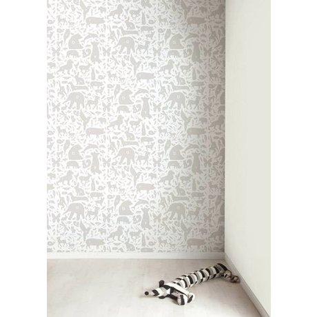 Kek Amsterdam Tapete Alphabet Tierchen, grau/weiß, 8,3mx47,5cm, 4m²