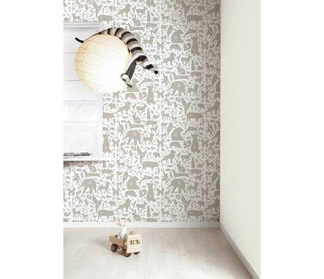 Kek Amsterdam Tapete Alphabet Tierchen, taupe/weiß, 8,3mx47,5cm, 4m²