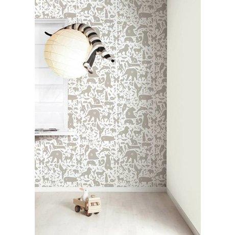 Kek Amsterdam Alphabet dyr tapet, taupe / hvid, 8.3 MX47, 5cm, 4m ²