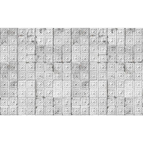 Merci Brooklyn Latas papel pintado, gris / blanco, estaño-04