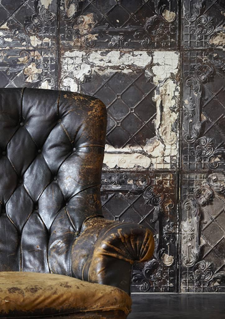 Fliesentapete Tin 07 Mit Fliesenmotiv In Schwarz Weiß Rostfarbe Von Brooklyn Tins Kein Tapetentisch Benötigt Für Se Moderne Tapete