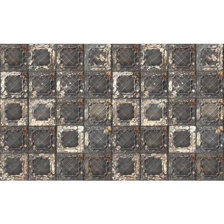 Merci Wallpaper Brooklyn Lattine, nero / bianco / acciaio, stagno-07