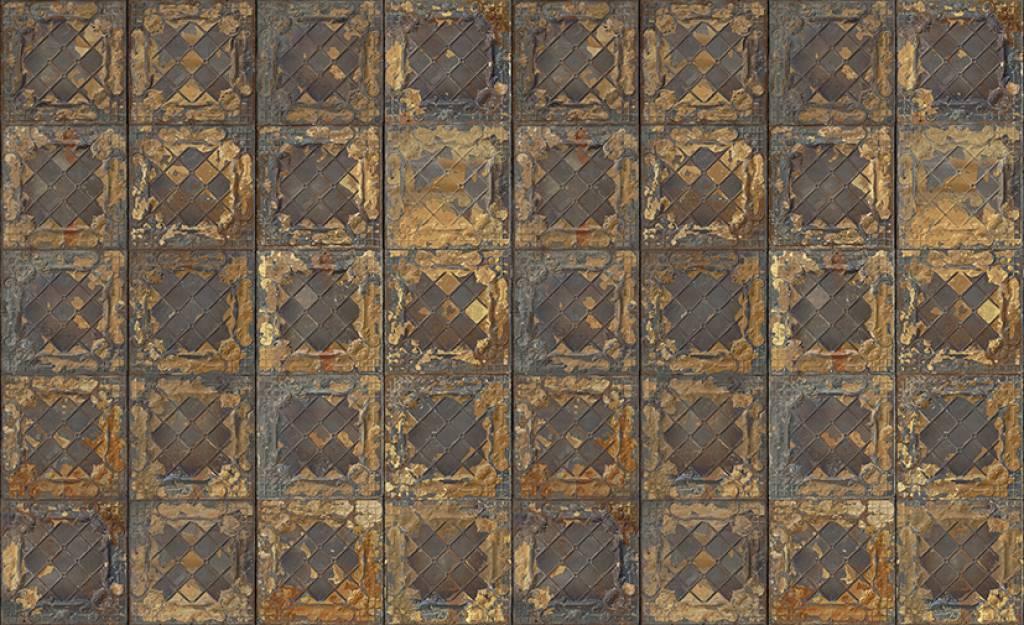 Merci wallpaper brooklyn lattine metallo oro stagno
