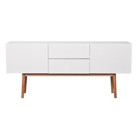 Zuiver TV cabinet High on Wood wooden, white, 160x40x71,5cm