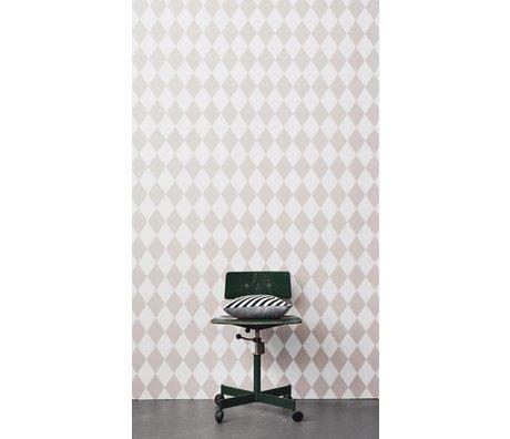 Ferm Living Papel tapiz Harlequin, rosa / blanco, 10,05 x0, 53m