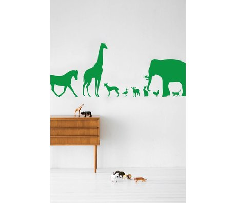 Ferm Living Mur de vinyle Decal animaux, vert, 50x100cm