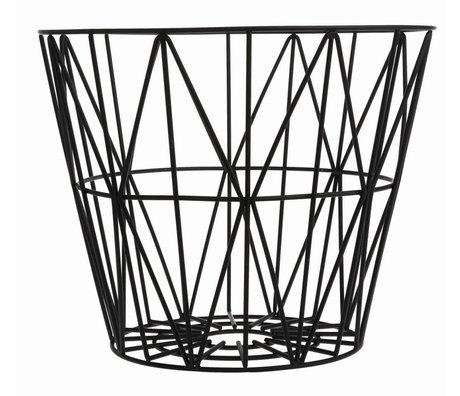 Ferm Living Cesta de hierro, negro, 3 tamaños: 40x35cm, 50x40cm, 60x45cm