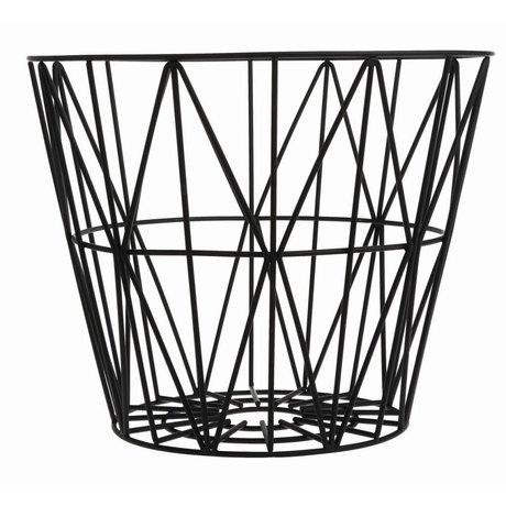 Ferm Living Panier en fer, noir, 3 tailles: 40x35cm, 50x40cm, 60x45cm