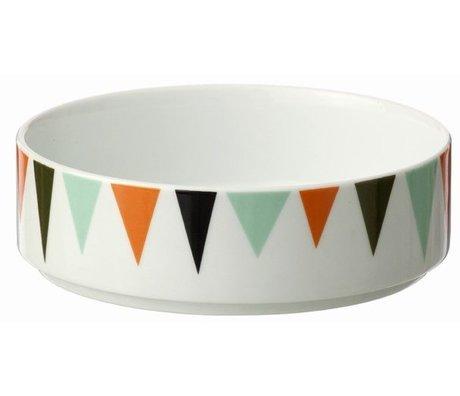 Ferm Living Porcelæn skål, hvid / farverige Ø13cmx4cm