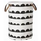 Ferm Living Panier à linge croissant de coton, noir / blanc, 40x60cm