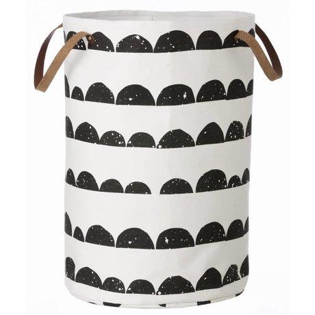 Ferm Living Servicio de lavandería cesta media luna de algodón, negro / blanco, 40x60cm