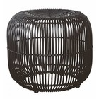 Housedoctor Stool made of rattan / metal, black, Ø52x46cm