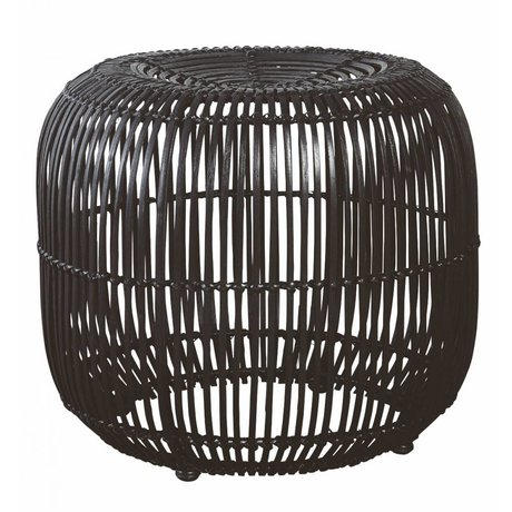 Housedoctor Stool made of rattan / metal, black, Ø52x46cm