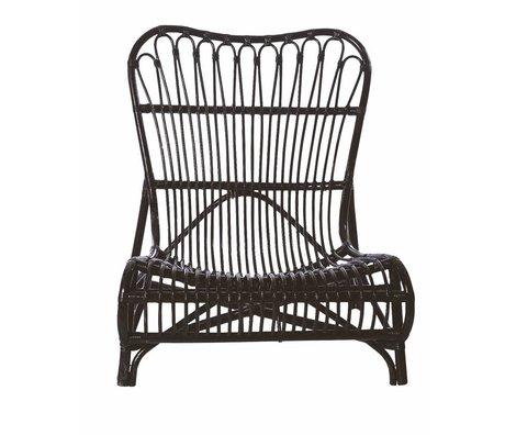 Housedoctor Chaise longue en bambou, noir, 90x55x80cm